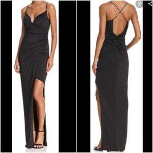 Bariano Black Asymmetrical Hem Evening Gown